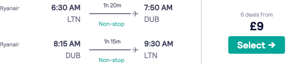 Fly between the UK and Ireland from only £9 return! Multiple cities to fly to/from!