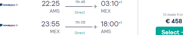 Cheap non-stop flights from Amsterdam to Mexico City for €458 return!
