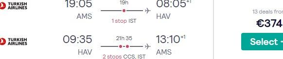 Full-service flights from Amsterdam to Havana, Cuba from €374 return!