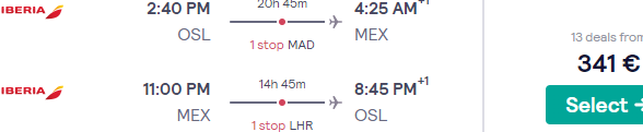 Cheap flights from Oslo to Mexico City from €341!