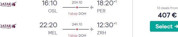 Qatar Airways open-jaw flights to Australia & New Zealand from €407!