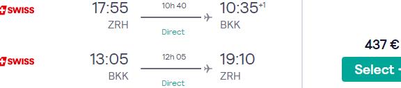 Swiss Air Lines cheap non-stop flights Zurich to Bangkok from €437 return!