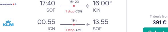 Air France-KLM flights from Sofia to Seoul, South Korea from €391!