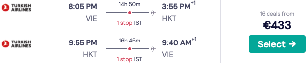 Fly full-service from Vienna to Phuket from only €426 return! 30kg baggage included!