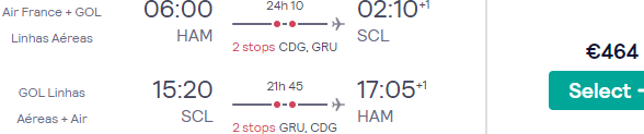 Return flights from many airports in Germany to Santiago de Chile from €464! (Jul 20 to Mar 21)