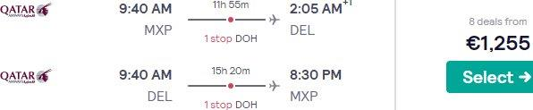 Qatar or Etihad Airways Business Class flights from Milan to New Delhi from €1255!