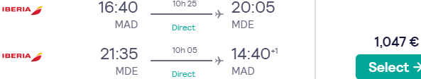 *BUSINESS CLASS* Iberia non-stop flights Madrid-Medellín, Colombia for €1047!
