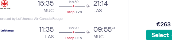 Star Alliance flights from Germany to Las Vegas from €263 return!