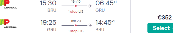 Cheap flights from Brussels to Brazil (Rio de Janeiro or Sao Paulo) from €352 return!