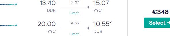 Non-stop cheap Dublin to Calgary flights from €348 return!