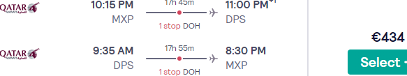 5* Qatar Airways flights from Milan to Bali from €434!