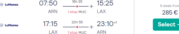 Lufthansa Group flights from Stockholm to Los Angeles from €190!