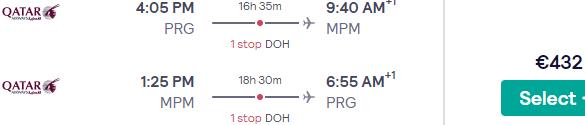 5* Qatar Airways return flights from Prague to Maputo, Mozambique for €432!