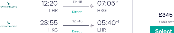5* Cathay Pacific cheap non-stop flights from London to Hong Kong £345!