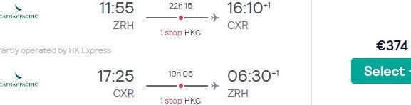 High-season Cathay Pacific flights from Zurich to Nha Trang, Vietnam from €374!