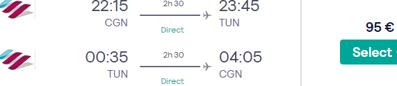 Non-stop flights from Germany (Cologne) to Tunisia (Tunis, Monastir) from €95!