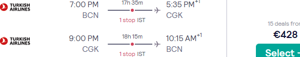 Turkish Airlines flights from Barcelona to Indonesia (Jakarta, Bali) from €428!