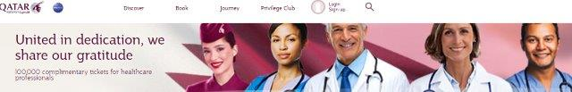 Qatar Airways offer: 100,000 complimentary free tickets for healthcare professionals!