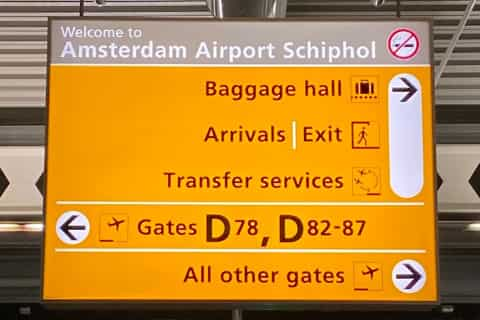 Amsterdam Schiphol Airport Guide - Sign