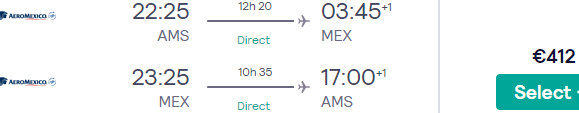 Non-stop AeroMexico flights from Amsterdam to Mexico City