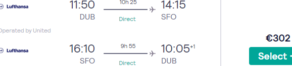 Non-stop United flights from Dublin to San Francisco for just €302!