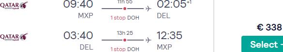 Full-service Qatar Airways flights from Italy to New Delhi, India from €354!