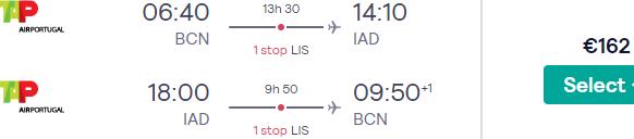 Cheap flights from Barcelona to Washington from €162!
