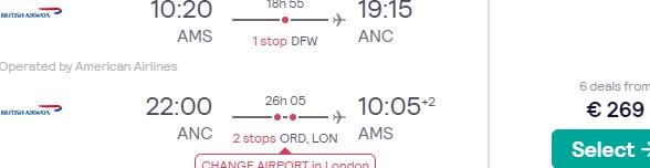 Cheap Oneworld return flights from Amsterdam to Alaska (Anchorage, Fairbanks) for €269!