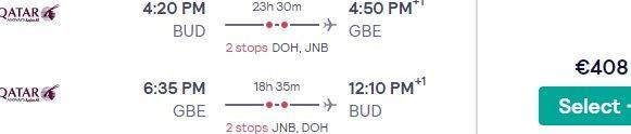 5* Qatar Airways flights from Budapest to Gaborone, Botswana from €408!
