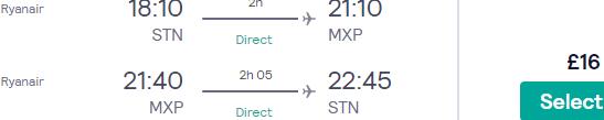 Return flights between London and Milan for under £16!