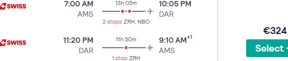 Cheap Swiss flights from Amsterdam to Dar es Salaam, Tanzania from €304 return!