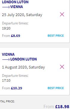 Return flights between London and Vienna for under £19!