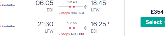 Full-service Brussels Airlines flights from the UK to Lomé, Togo from £354!