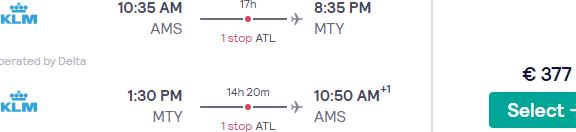 SkyTeam flights from Amsterdam to Mexico (Monterrey, Guadalajara) from €377