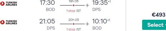 Return flights from France to Bali, Indonesia from €493!