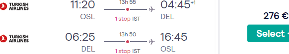 Cheap flights from Oslo to New Delhi, India with Turkish Airlines from €276!