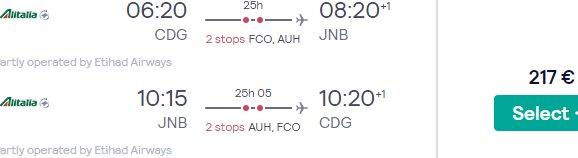 Super cheap full-service flights to Johannesburg, South Africa from Paris €217!
