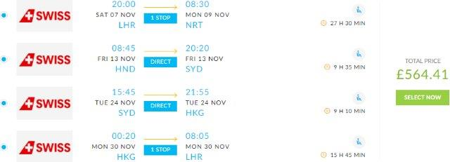 Multi-city flights from London to Tokyo, Sydney and Hong Kong for £564!