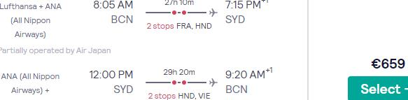 5* Lufthansa / ANA flights from Spain to Sydney, Australia from €659!