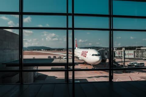 Plane Landing at Zurich - Plane at Window