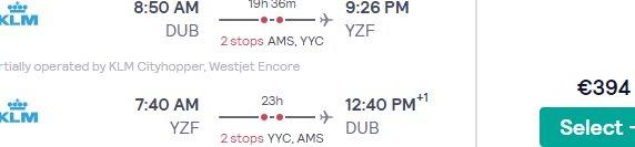 Return flights from Ireland, Belgium, Lux, Switzerland, Austria or Germany to Yellowknife, Northwest Territories, from €394!