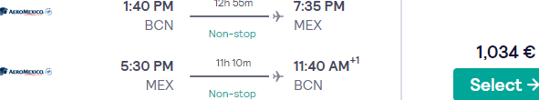 Business Class flights from Spain to destinations in Mexico from €1034!