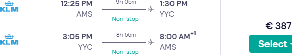 KLM non-stop flights from Amsterdam to Calgary from €387!