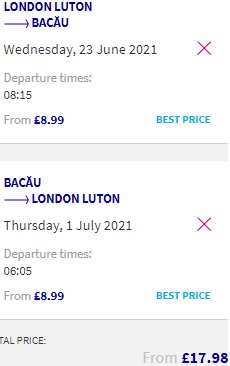 Cheap flights between many cities in the UK and Romania from £18 return!