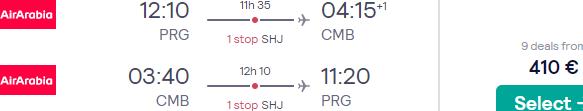Cheap flights from Prague to Sri Lanka from €410 roundtrip!