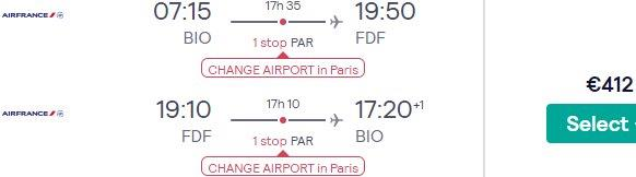 Air France flights from Spain to Martinique or Guadeloupe from €412 return!