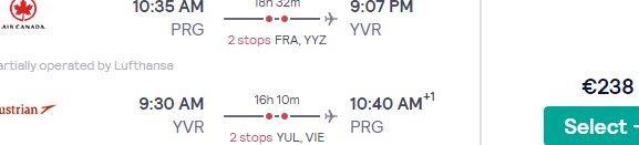 5* Lufthansa flights from Prague or Budapest to Canada (Toronto, Montreal, Ottawa, Vancouver, Calgary, Edmonton, Winnipeg) from €243!