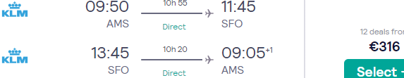 KLM non-stop flights from Amsterdam to San Francisco from €316!