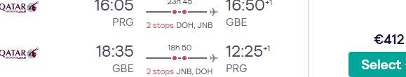5* Qatar Airways cheap flights from Prague to Botswana from just €412!