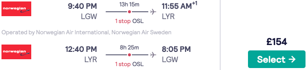 Cheap flights to Svalbard! London to one of the worlds northernmost towns, Longyearbyen for £154rtn!